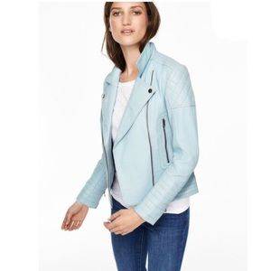 Boden Cropped Quilted Leather Biker Moto Jacket